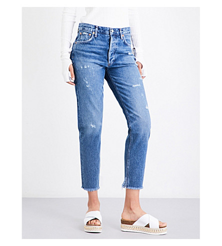 AGOLDE Jamie distressed classic-fit high-rise jeans (Lowdown