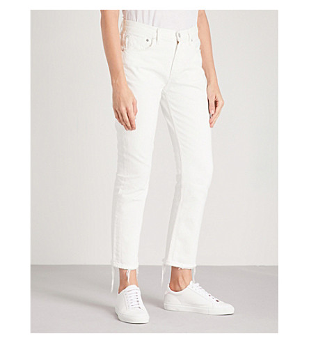 AGOLDE Cigarette distressed frayed-hem straight cropped high-rise jeans (Lightbox
