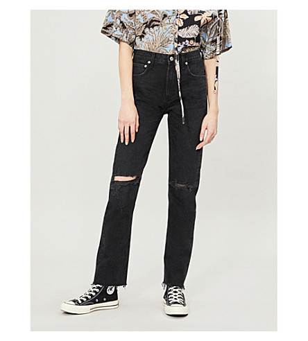AGOLDE Cherie distressed high-rise straight-leg jeans (Distortion