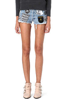 HYENA Badge-detail denim shorts