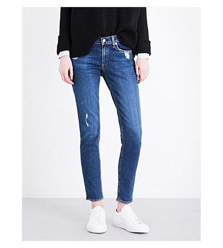 RAG & BONE The Skinny distressed mid-rise jeans (La+paz