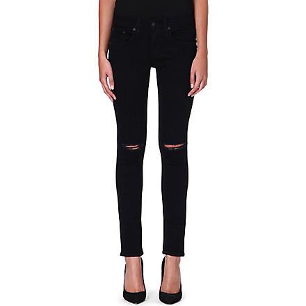 RAG & BONE Chester skinny mid-rise jeans (Coal w/holes