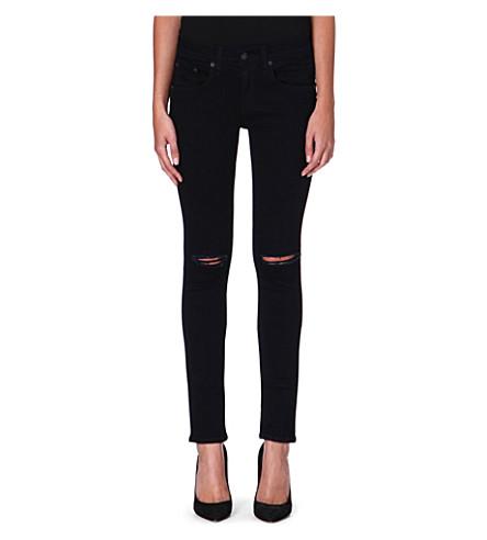 RAG & BONE The Skinny mid-rise jeans (Coal w/holes