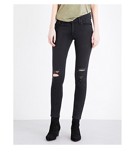 RAG & BONE Distressed skinny mid-rise jeans (Soft+rock+w/+holes