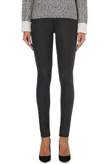 RAG & BONE Coated denim skinny mid-rise leggings