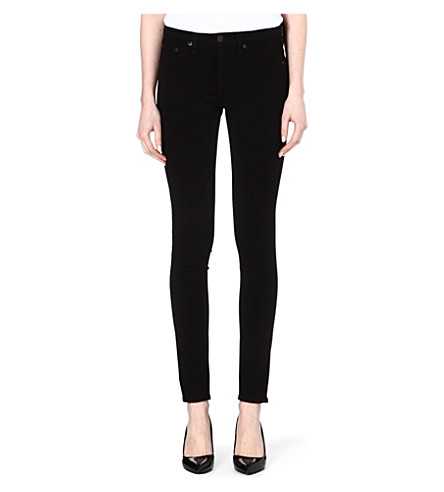 RAG & BONE The Legging skinny mid-rise jeans (Black+plush