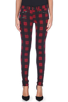 RAG & BONE Checked skinny mid-rise jeans