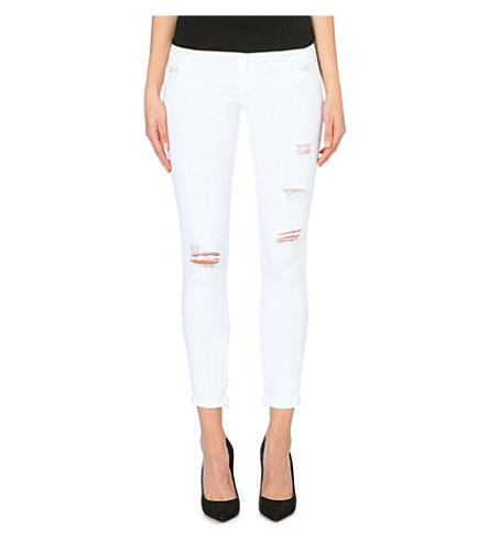 RAG & BONE Capri distressed skinny mid-rise jeans (Bright white shredded