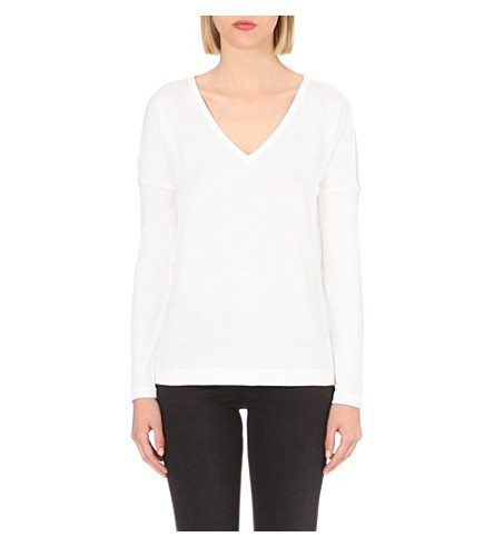 RAG & BONE Theo v-neck cotton-jersey top (Bright+white