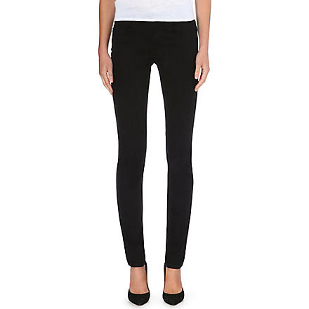 ARMANI JEANS Slim high-rise stretch-denim jeans (Black
