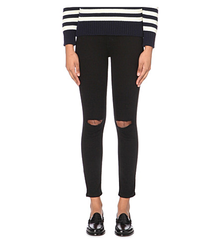 CURRENT/ELLIOTT The Stiletto skinny mid-rise jeans (Jet+black+knee+destroy