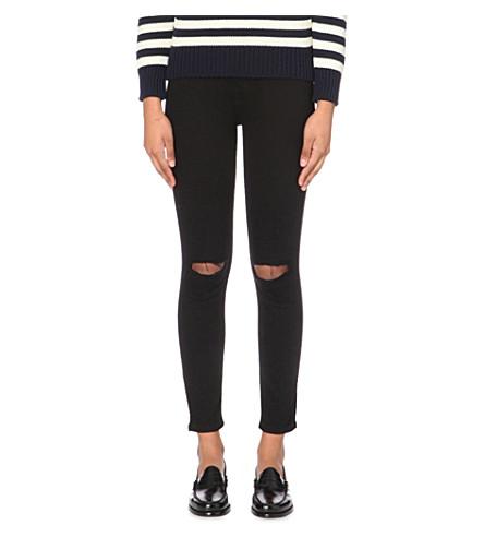 CURRENT/ELLIOTT The Stiletto skinny mid-rise jeans (Jet+black+knee+destroy