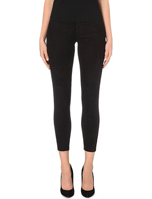 CURRENT/ELLIOTT The Stiletto skinny mid-rise suede jeans