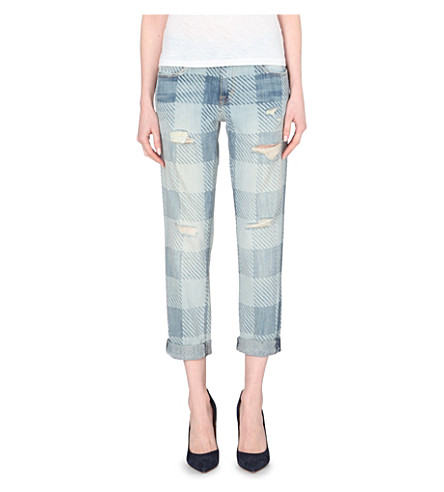 CURRENT/ELLIOTT Striped patchwork print jeans (Discovery plaid