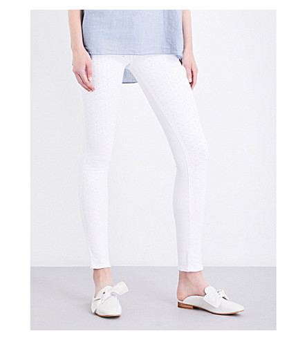 TRUE RELIGION Halle super-skinny mid-rise jeans (Optic+white