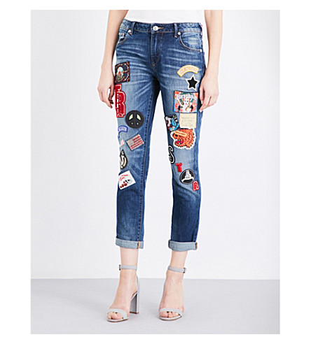 TRUE RELIGION Audrey Patch turn-up skinny mid-rise jeans (Coronet blue