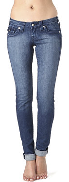 TRUE RELIGION Julie Chessboard skinny crystal low-rise jeans
