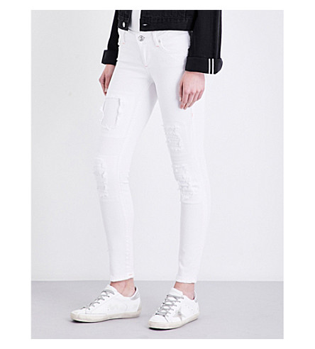 TRUE RELIGION Casey distressed super skinny low-rise jeans (Dow+optic+white
