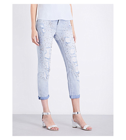 TRUE RELIGION Embellished slim-fit high-rise jeans (New+city