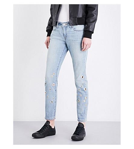 TRUE RELIGION Cameron embellished boyfriend-fit mid-rise jeans (Dotl+cloud+nine