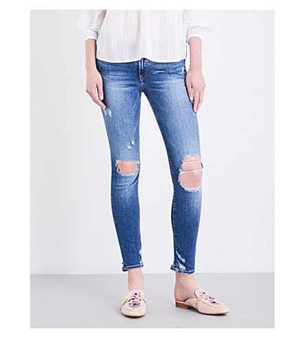 TRUE RELIGION Halle distressed super skinny mid-rise jeans (Easm+blue+love