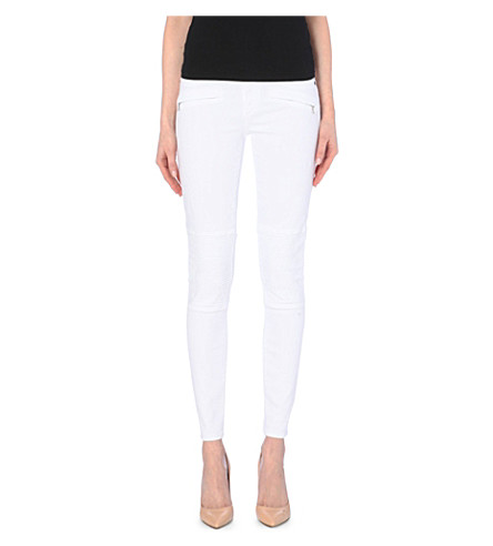 TRUE RELIGION Halle biker super-skinny mid-rise jeans (Optic white destr