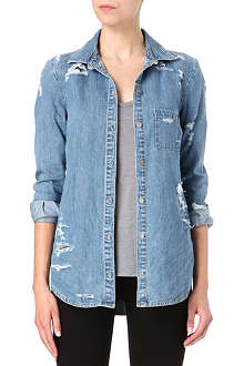 PAIGE DENIM Deconstructed denim shirt