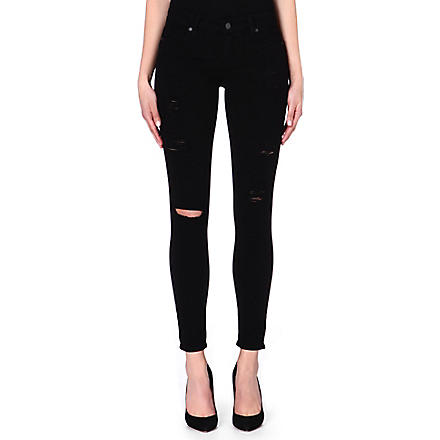 PAIGE DENIM Verdugo destructed super-skinny jeans (Black
