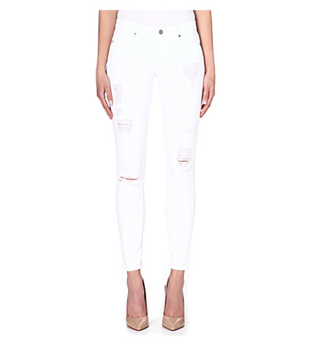 PAIGE DENIM Verdugo distressed ultra-skinny mid-rise jeans (White