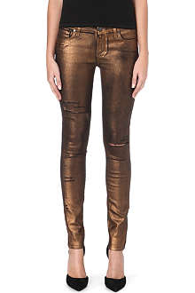 PAIGE DENIM Verdugo mid-rise skinny metallic coated jeans