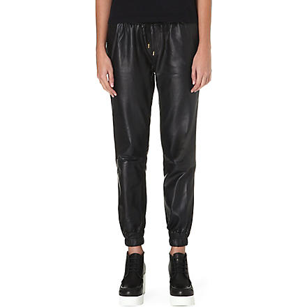 PAIGE DENIM Leather Jadyn jogging trousers (Black