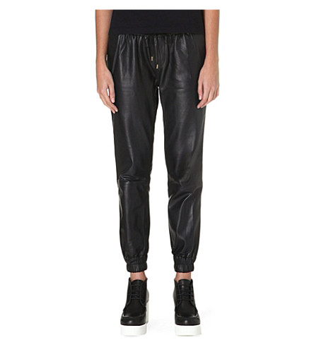 PAIGE DENIM Leather Jadyn jogging trousers (Black