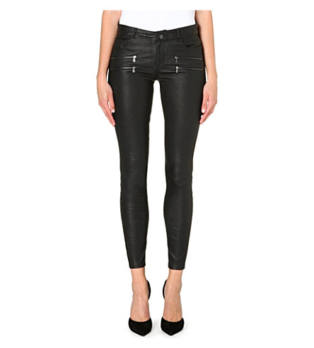 PAIGE DENIM Edgemont skinny leather trousers (Black