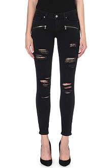 PAIGE DENIM Distressed mid-rise skinny jeans