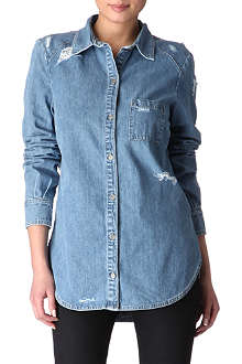 PAIGE DENIM Eden destructed denim shirt