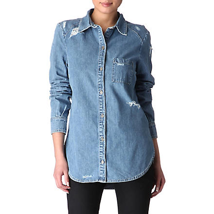 PAIGE DENIM Eden destructed denim shirt (Hideaway