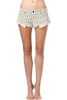 PAIGE DENIM Echo Park rose-print denim shorts