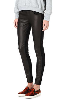 PAIGE DENIM Emily skinny mid-rise leather-panel trousers