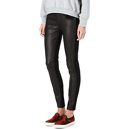 PAIGE DENIM Emily skinny mid-rise leather-panel trousers (Black
