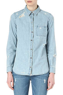 PAIGE DENIM Eden distressed denim shirt