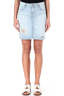 PAIGE DENIM Kyle distressed denim skirt