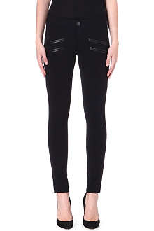 PAIGE DENIM Justine leather-trimmed jersey trousers