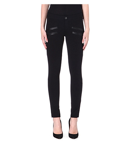 PAIGE DENIM Justine leather-trimmed jersey trousers (Black