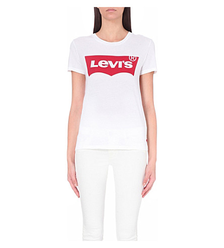 LEVI'S The Perfect cotton-jersey T-shirt (Batwing+bright+white