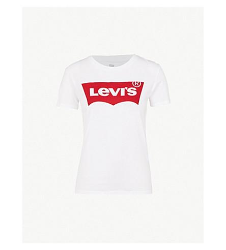 LEVI'S 完美平纹针织棉 T 恤 (大 + 蝙蝠翼 + 白色