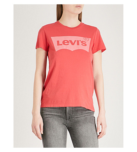 LEVI'S The Perfect cotton-jersey T-shirt (Better+pfd+poinsettia