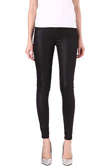 LEVI'S Coated super-skinny mid-rise denim leggings