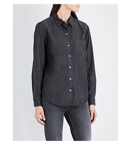 LEVI'S Sidney boyfriend-fit woven shirt (Super+dark+authentic