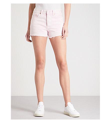 LEVI'S 501 distressed denim shorts (Acid+light+lilac