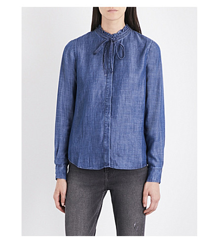 LEVI'S Katya frilled-collar chambray shirt (Medium+authentic
